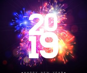 2019 new year with firework background vectors 01