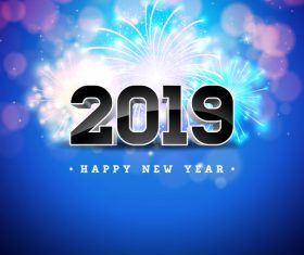 2019 new year with firework background vectors 02