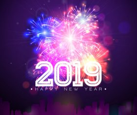 2019 new year with firework background vectors 03