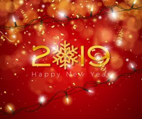 2019 new year with golden confetti and red background vector