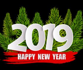 2019 new year with red banner design vectors