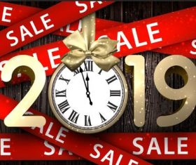 2019 new year with red sale ribbon vector
