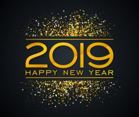 2019 new year with shiny golden confetti vector