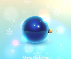 3D blue christmas ball with snow background vector