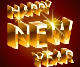 3D golden happy new year text design vectors