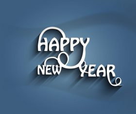 3D happy new year design with dark background vector