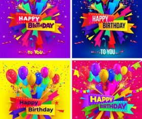 4 Kind colored birthday background vector