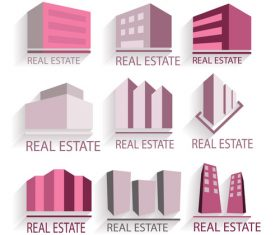 9 purple building real estate logo vector
