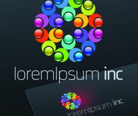 Abstract business logos with sign design vector 06