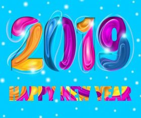 Abstract colored 2019 new year creative vector