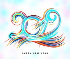 Abstract paint with 2019 new year design vector