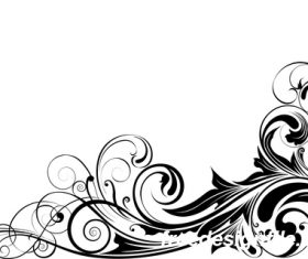 Angle black swirl ornaments design vector 02