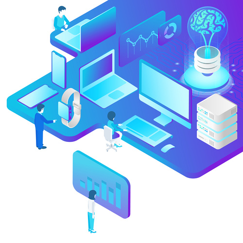 Artificial intelligence technology isometric perspective style vector illustration