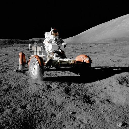 Astronauts aboard the moon Stock Photo 01