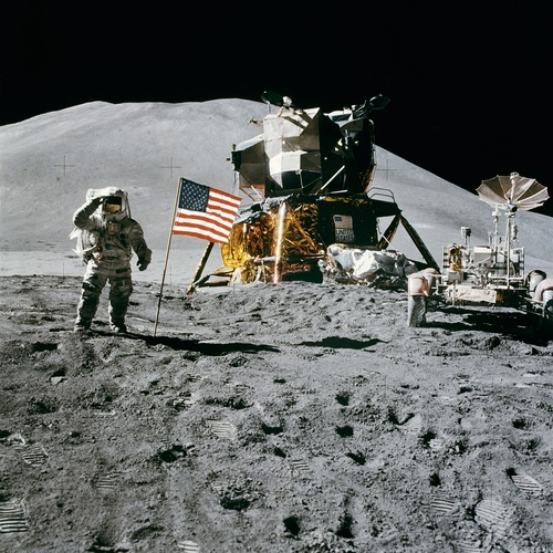 Astronauts aboard the moon Stock Photo 02