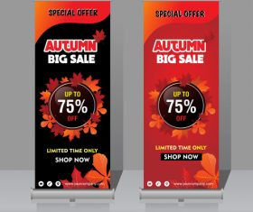 Autumn big sale vertical banner template vector 03