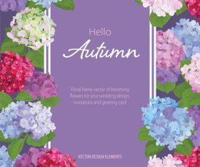 Autumn colored flower card vectors 01