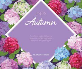 Autumn colored flower card vectors 02