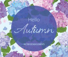 Autumn colored flower card vectors 03