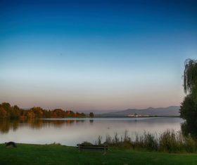 Autumn dusk lake natural landscape Stock Photo