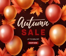 Autumn sale background with balloons frame vector