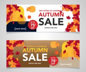 Autumn sale discount banner vectors