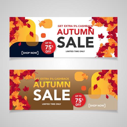Autumn sale discount banner vectors
