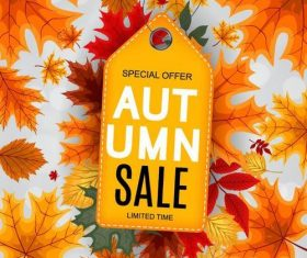 Autumn sale tag with autumn background vector