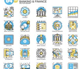 Banking with finance flat line icons 02