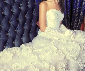 Beautiful charming bride in wedding luxurious dress Stock Photo 01
