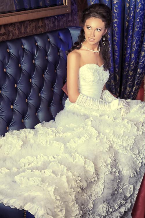 Beautiful charming bride in wedding luxurious dress Stock Photo 01