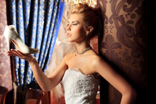 Beautiful charming bride in wedding luxurious dress Stock Photo 02