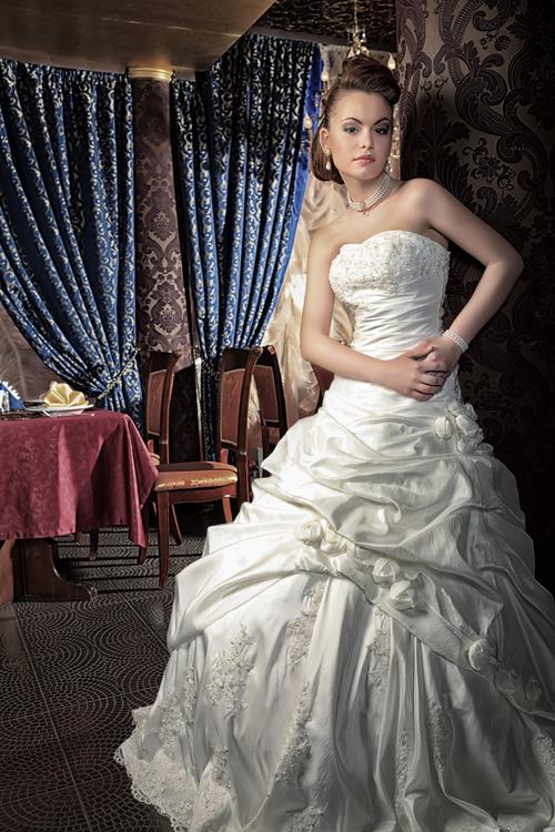 Beautiful charming bride in wedding luxurious dress Stock Photo 04