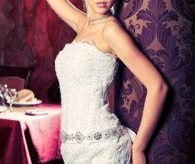 Beautiful charming bride in wedding luxurious dress Stock Photo 05