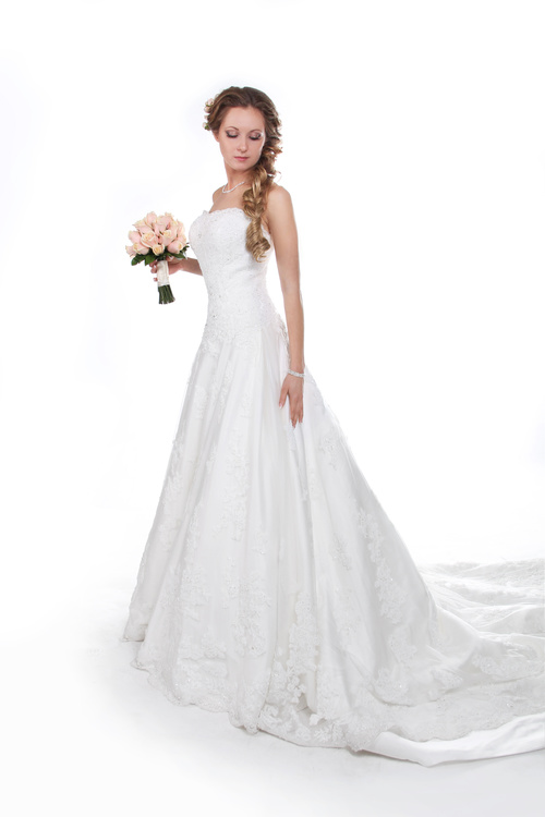 Beautiful charming bride in wedding luxurious dress Stock Photo 06