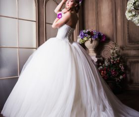 Beautiful charming bride in wedding luxurious dress Stock Photo 07