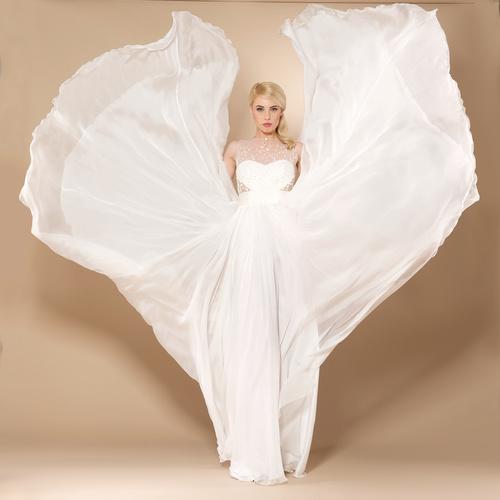 Beautiful charming bride in wedding luxurious dress Stock Photo 08