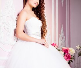 Beautiful charming bride in wedding luxurious dress Stock Photo 10