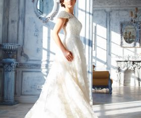 Beautiful charming bride in wedding luxurious dress Stock Photo 13