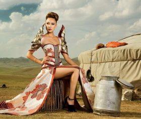 Beautiful female model with prairie Stock Photo