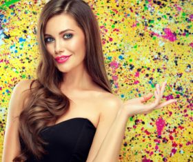 Beautiful girl on colorful background Stock Photo 04