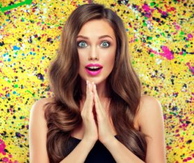 Beautiful girl on colorful background Stock Photo 05