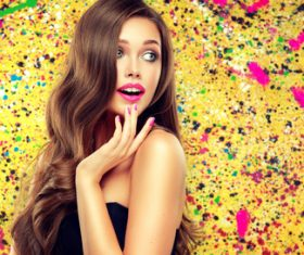 Beautiful girl on colorful background Stock Photo 06