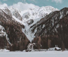 Beautiful mountain snow scene Stock Photo 05