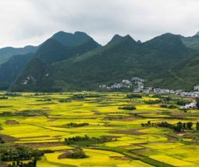 Beautiful mountain village and farmland Stock Photo 06