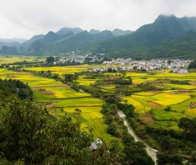 Beautiful mountain village and farmland Stock Photo 07