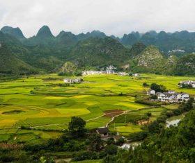 Beautiful mountain village and farmland Stock Photo 08