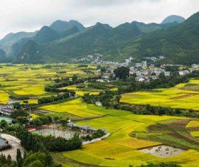 Beautiful mountain village and farmland Stock Photo 09