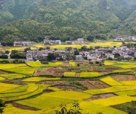 Beautiful mountain village and farmland Stock Photo 10