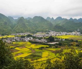 Beautiful mountain village and farmland Stock Photo 11